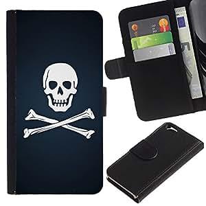 KingStore / Leather Etui en cuir / Apple Iphone 6 / Cráneo y Huesos de la bandera pirata