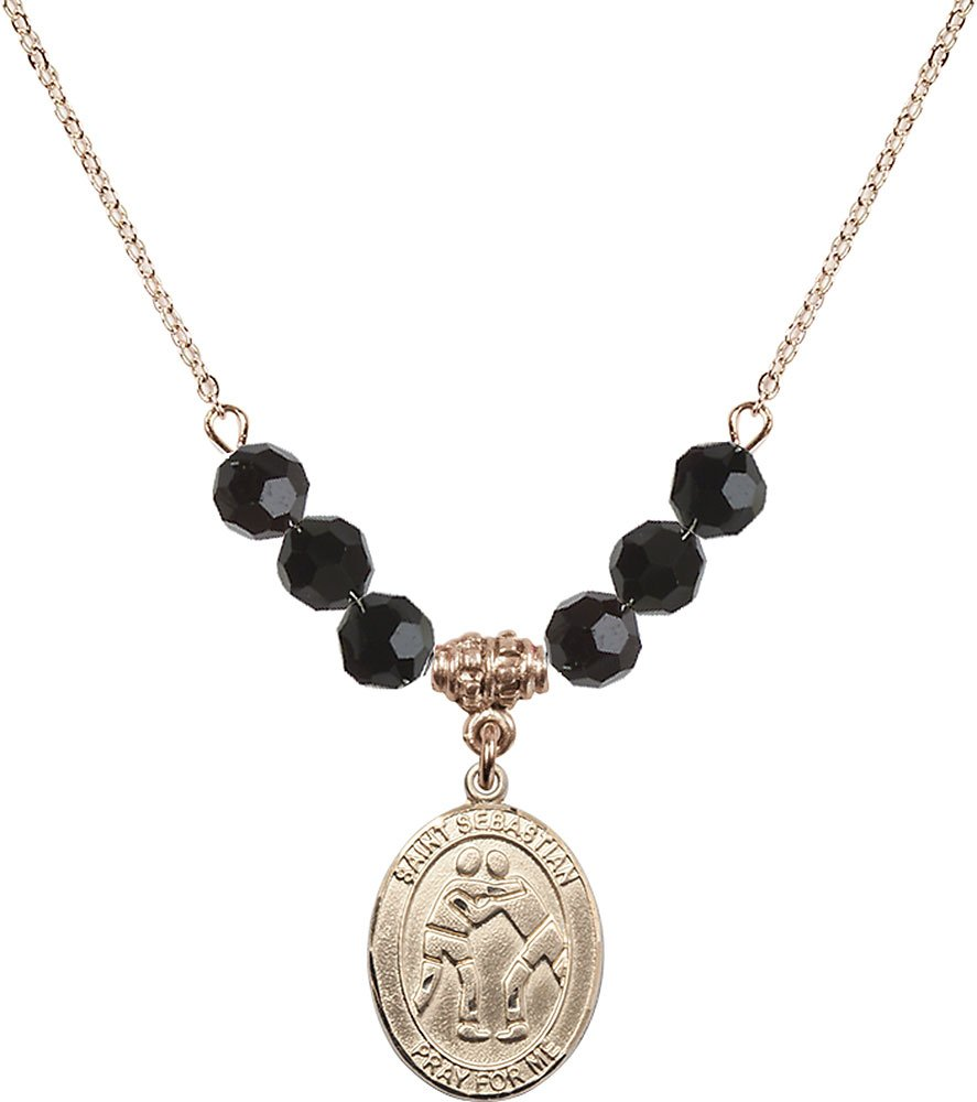 Gold Plated Necklace with 6mm Jet Birthstone Beads & Saint Sebastian/Wrestling Charm. by F A Dumont