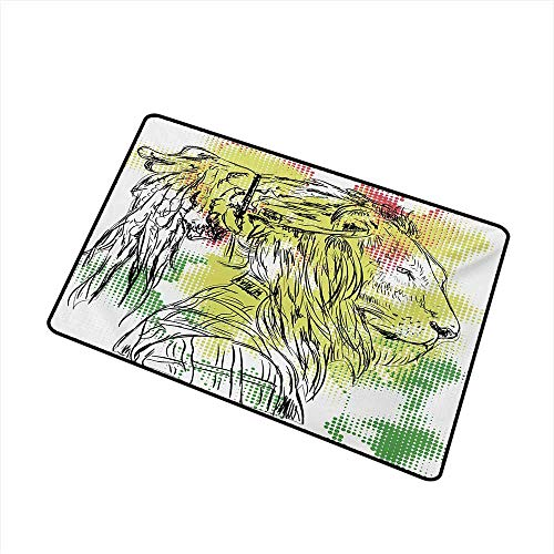 Rasta Welcome Door mat Black and White Sketchy Head of Lion on Digital Pixels Backdrop Image Door mat is odorless and Durable W23.6 x L35.4 Inch,Green Burgundy and Yellow