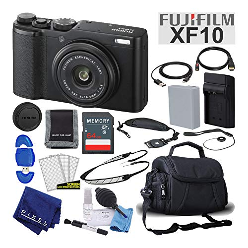 Fujifilm XF10 X-Series 24.2 MP Point & Shoot Digital Camera (Black) Mid-Range Bundle with 64GB SD Card + Camera Case + Deluxe Cleaning Kit + More