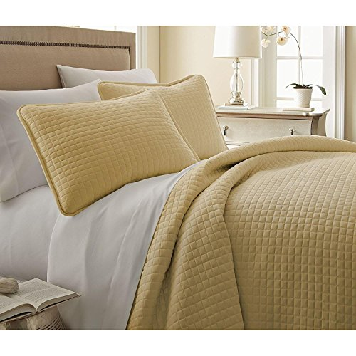 3pc Oversized Yellow Gold King/Cal King Quilt Set, Microfibe