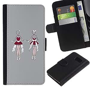 A-type (Sexy Santa Lingerie Woman Sketch Grey) Colorida Impresión Funda Cuero Monedero Caja Bolsa Cubierta Caja Piel Card Slots Para Samsung Galaxy S6