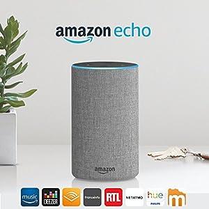 Amazon Echo (2ème génération), Enceinte connectée avec Alexa, Tissu gris chiné 2
