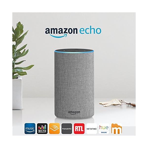 Amazon Echo (2ème génération), Enceinte connectée avec Alexa, Tissu gris chiné 1
