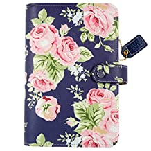 "Color Crush Faux Leather Personal Planner Kit 5.25""X8""-Navy Floral"