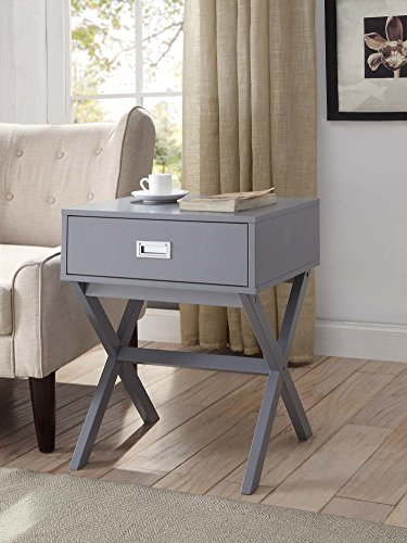 Grey Finish Modern X-Shape Accent Side End Table Nighstand with Drawer