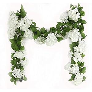 Silk Flower Arrangements JenlyFavors Artificial Hydrangea Flower Garland 6 Feet White