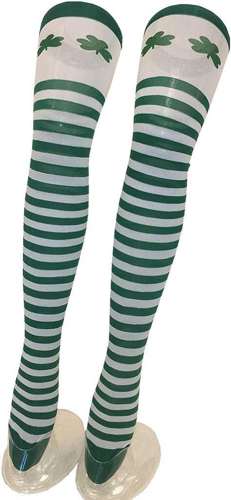 Takkar Femmes Filles St Patricks Day Shamrock Knee Socks White and Green Stripe High Socks 1 Pair