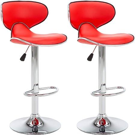 Vidaxl 2x Chaise De Bar Similicuir Rouge Cuisine Bistrot