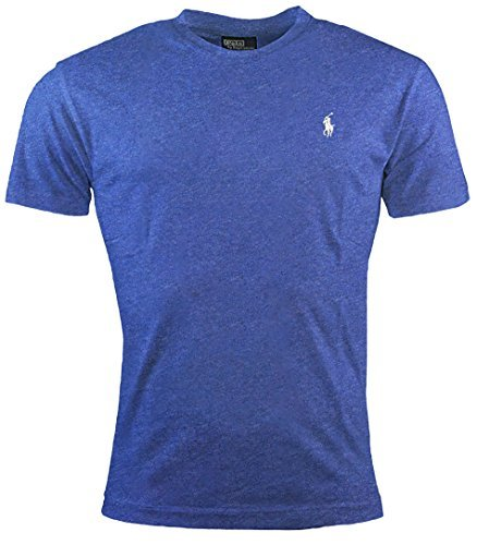 Ralph Lauren Polo Men's Crewneck T-Shirt (Large, Blue Heather/White Pony) Polo Neck T-shirts