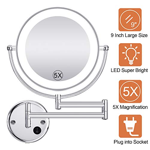 Benbilry LED Wall Mounted Mirror, 1x/5x Magnification, 9 Inch Double Sided 360° -