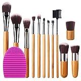 BEAKEY Makeup Brush Set Bamboo Handle Premium Synthetic Kabuki Foundation Blending Blush Eyeshadow