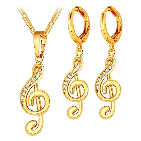 U7 Women Fashion Set Music Jewelry 18K Gold Plated Musical Note Pendant Necklace Earrings -Decorated With Cubic (Elegant Music Rings)