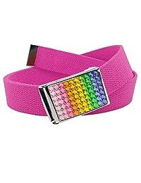 Girl's School Uniform Sparkly Rainbow Crystal Flip Top Buckle with Canvas Web Belt Small Pink