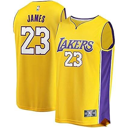 Mitchell   Ness Men s Los Angeles Lakers Lebron James Fast Break Replica  Jersey  23 ( 6ce99f363