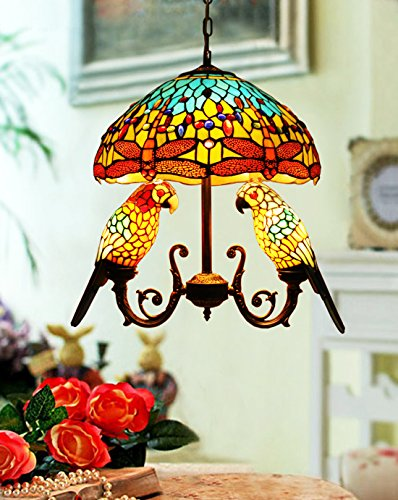 Makenier Vintage Tiffany Style Stained Glass 16-inch Dragonfly + Double Parrots Pendant Hanging (Double Glass Pendant Lamp)