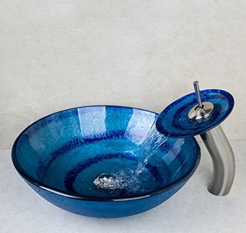GOWE Blue Bathroom Sink Washbasin Ceramics Hand-Painted Waterfall Glass Lavatory Bath Combine Brass Set Faucet,Mixers & Taps 0