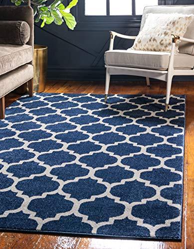 Unique Loom Trellis Collection Moroccan Lattice Dark Blue Area Rug 3 3 x 5 3