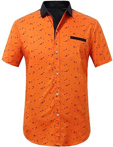 - SSLR Men's Printed Button Down Casual Short Sleeve Cotton Shirts (Small, Orange)