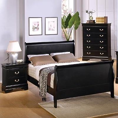 Louis Philippe Sleigh Bed in Deep Black