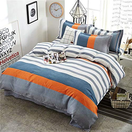 Package Stripe - JX Lecal Home Bedding Package, Orange Blue White Stripe Double-Sided Printed Duvet Cover Flat Pillowcase Set of 4, Size: Full