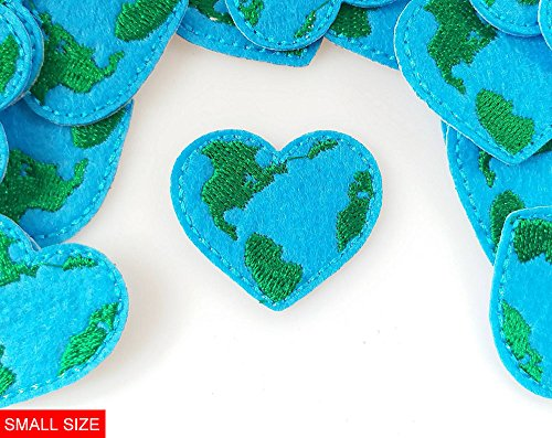 Supersevenday 3.8x3.2cm 15pcs Earth Day Love Heart Patches Embroidered Appliques Machine Embroidery for Badge Reels Badge Pull Nurse Badge Reel Felt patches
