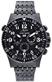 Xezo Men's Air Commando Swiss-Quartz Pilots Diver Chronograph Wrist Watches, Black Gun Metal