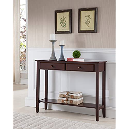 drawer with entry great entryway sofa on cappuccino console finish drawers pin table deals overstock shopping