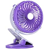 Battery Operated Fan Stroller Clip On Fan Rechargable and Quiet Silent 5 (Purple)