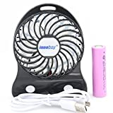 innobay 3-inch Mini Handy Portable Rechargeable Fan Operated by 18650 Lithium Battery, 3 Speeds, 1 Led Night Light, Perfect Size to Put in Hand Bag and Pocket (Black)