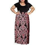 Womens Dresses Clearance! Women's Print Summer Patchwork Short Sleeve Plus Size Casual Long Maxi Dress (2XL, Pink)
