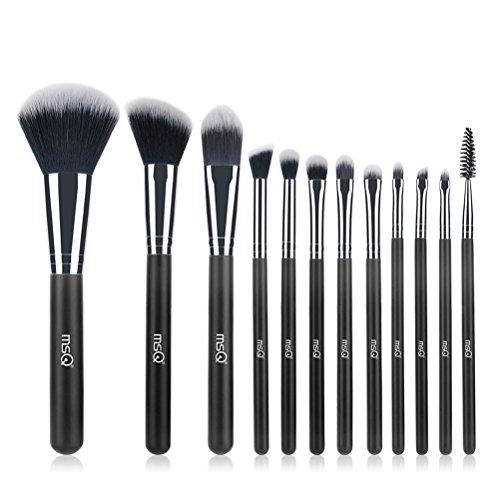 2pcs Professional Cosmetic Brushes,Soft Synthetic Hair for Foundation, Powder, Blush, Eyeshadow,Lip -Black ()