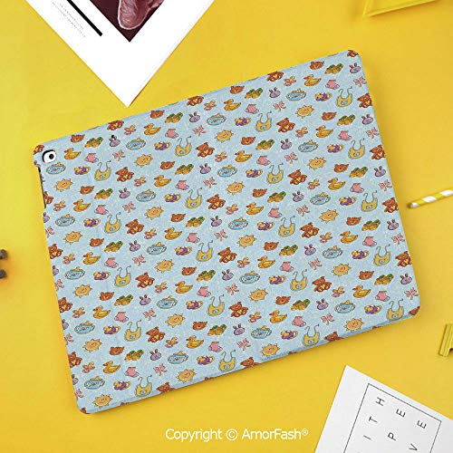 Case for SamsungGalaxy Tab S4 2018 10.5 T830 T835 SM-T835 Protective,Baby,Newborn Sun Teddy Bear Ribbon Feeder Pacifier Chick Kitty Cat Design Decorative,Pale Blue Cinnamon Apricot