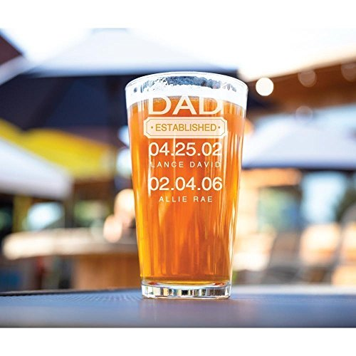 Dad Pint Glass Gift for Father's Day Established Date and Kids Birthdays-16 oz (Beer Decorative Glasses)