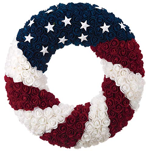 July 4th Wreaths (ranspac Silk Rose Americana Wreath, Patriotic Wreath 21 Inch Diameter, Roses and Stars, Red White and Blue 4th of July)