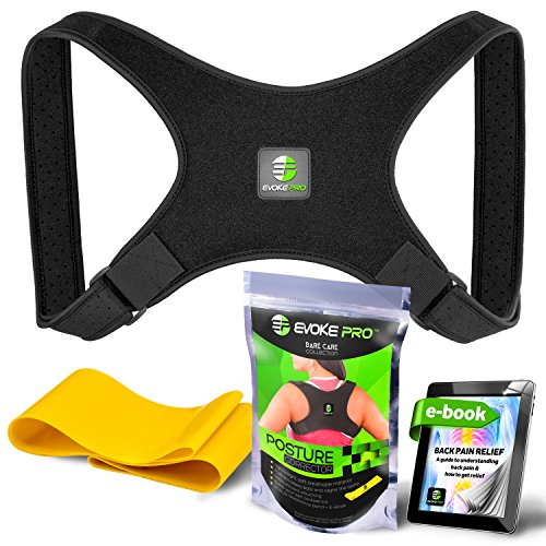 Posture Corrector for Women and Men - Evoke Pro FDA Approved Posture Brace and Spine Corrector Device that Prevents Slouching and Provides Clavicle Support (Regular)