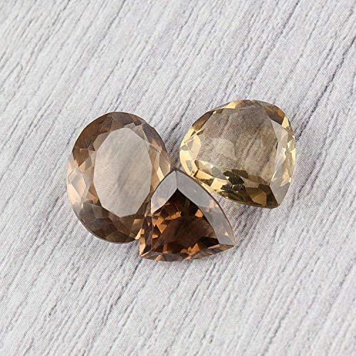 Jaguar Gems 3pcs Smokey Quartz Gemstone Facated Cut Stone DIY-Jewelry Making Specimen Chakra Healing Crystals Natural Loose Gemstones Supplies Christmas Special
