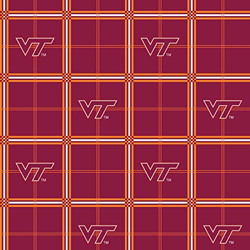 VIRGINIA TECH UNIVERSITY FLANNEL FABRIC-VIRGINIA TECH HOKIES FLANNEL FABRIC SOLD BY THE YARD