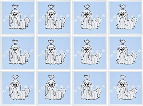 3dRose Grey and White Shih Tzu with Paw Prints - Greeting Cards, 6 x 6 inches, set of 12 (gc_6144_2) (Tzu Paw Shih Prints)