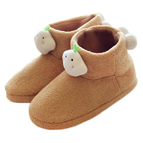 Fortuning's JDS Unisexo Adultos Pareja acogedor Lana Casa Calzado ovejas encantadoras Confortable Zapatillas Caqui