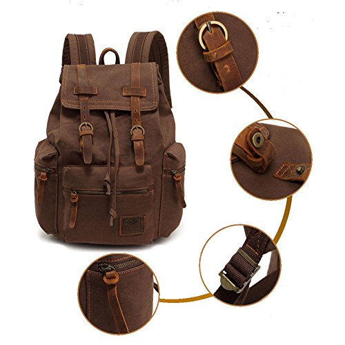 Hiking Canvas Schoolbag Coffee gray Yimidear Vintage Backpack Rucksack Bag Casual vcPaO