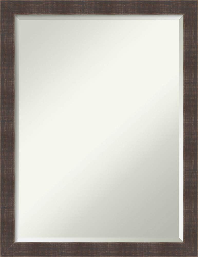 Amanti Art Framed Vanity Mirror   Bathroom Mirrors for Wall   Whiskey Brown Rustic Mirror Frame   Solid Wood Mirror   Medium Mirror   26.25 x 20.25 in.