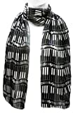 Imagine If... Silk Feel Scarf - Music Piano Keys White on Black