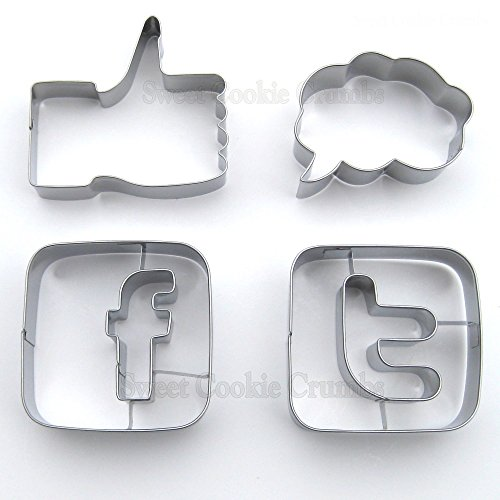 Social Media Cookie Cutter Set, Stainless Steel, 4 Piece Set -