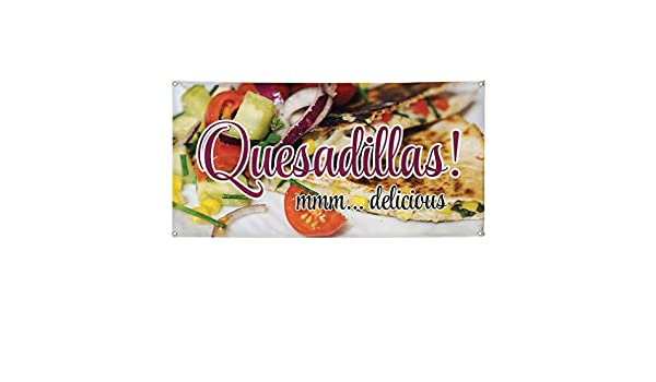 Mmm.Delicious Quesadillas Marketing Advertising Yellow Multiple Sizes Available 28inx70in 4 Grommets Set of 2 Vinyl Banner Sign Quesadillas