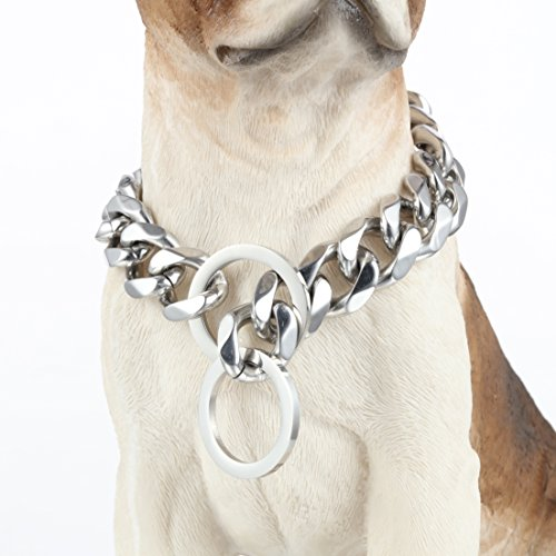 Aiyidi Highly Polished Stainless Steel Chain Heavy Duty Dog Collar - 15/19mm Silver Tone Cuba Curb Link Perfect for Medium and Large Dog Training Walking (19mm, 20inches)