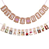 Noex Direct Paper Garland IT IS A GIRL Bunting Banner Baby Shower Garland Decoration 12 PCS Baby Photo Cards Banner for Happy Birthday