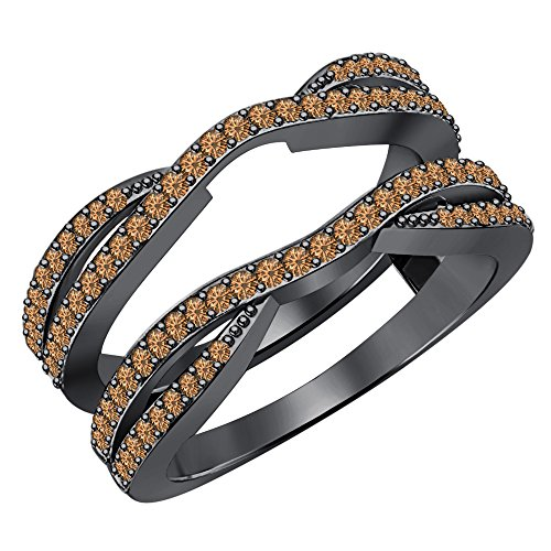 (0.50 Carat (ctw) 14K Black Gold Plated .925 Sterling Silver Smoky Quartz Ladies Wedding Band Enhancer Guard Double Ring 1/2 CT (4-12))