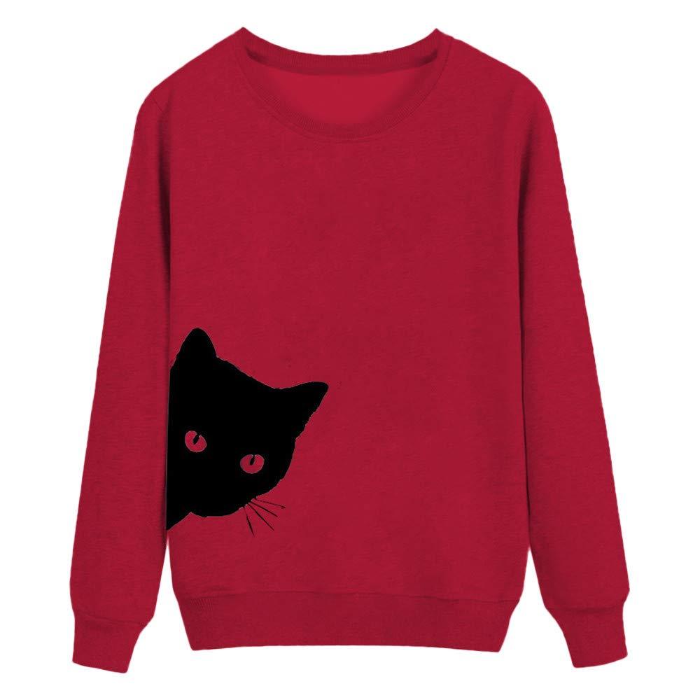Zackate Womens Long Sleeve Blouse Cat Printed Sweatshirt Pullover Tops Tunic Sweater Tshirt