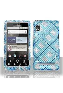 Motorola A955 Droid 2 Full Diamond Graphic Case - Blue Plaid